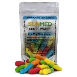 Sunmed CBD Isolate Gummy Sour Worms 30 Count 10 mg (300mg)